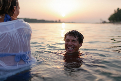 Generation Z travellers swim at sunset in exotic travel destination